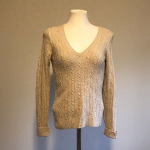 J. Crew Wool cashmere v-neck cable knit sweater